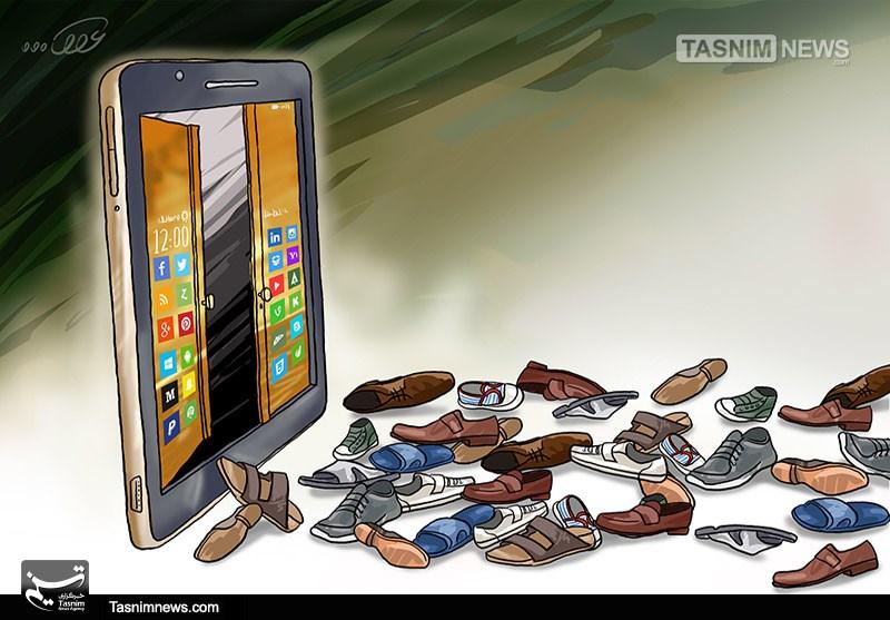 کاریکاتور معضلات شبکههای اجتماعی برای خانوادهها.jpg (800×557)