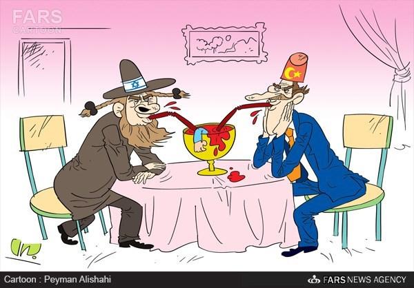کاریکاتور «دیلی صباح» روزنامه نزدیک به دولت ترکیه: اسرائیل و ترکیه دیدگاه یکسانی در موضوعات منطقهای دارند.jpg (600×418)